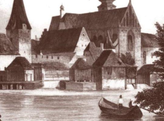Чешские Будейовицы на гравюре XIX. века