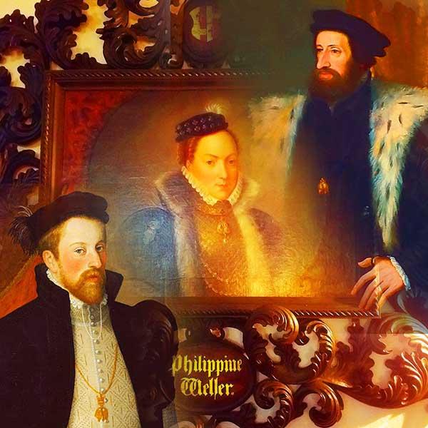 Император Фердинанд I., эрцгерцог Фердинанд II. Тирольский и Филиппина Велзер